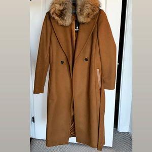 Mackage camel Wool overcoat real fur
